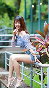Bilder Asiatische Braune Haare Sitzt Bein Shorts Bluse Lächeln Blick junge frau