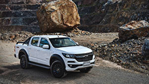 Hintergrundbilder Chevrolet Weiß Pick-up 2019 Colorado Trail Boss Double Cab automobil