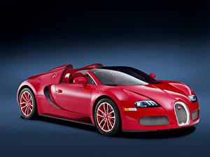 Fotos BUGATTI Grauer Hintergrund Rot 2011-12 Veyron Grand Sport Roadster  Red Edition Autos