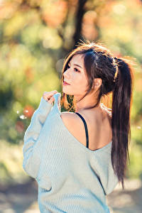 Wallpapers Asian Blurred background Hair Tail female