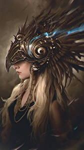 Fotos Blondine Helm Fantasy Mädchens