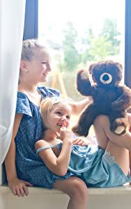 Image Teddy bear Little girls Two Smile Window child
