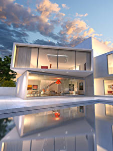 Bilder Gebäude Herrenhaus Design Schwimmbecken Wolke Städte 3D-Grafik