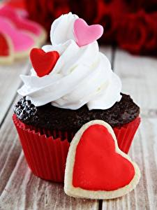 Papéis de parede Dia dos Namorados Cupcake Coração Alimentos