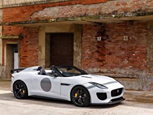Hintergrundbilder Jaguar Weiß Roadster UK-spec F-Type 2014 Project 7