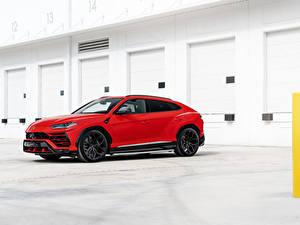 Bilder Lamborghini Softroader Rot Seitlich Urus, 2019 automobil