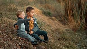 Photo Sitting Boys 2 Grass Ekaterina Borisova Children