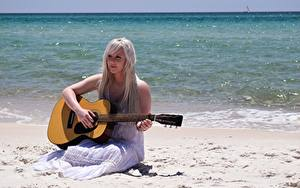 Wallpaper Sea Beaches Blonde girl Frock Sitting Guitar