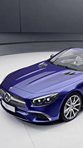 Bilder Mercedes-Benz Blau Cabrio Metallisch 2017 SL-Klasse designo Edition Autos