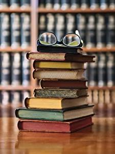 Fotos Viel Bibliothek Buch Brille Bokeh
