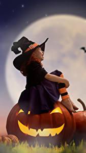 Hintergrundbilder Kürbisse Halloween Kleine Mädchen Mond Nacht Der Hut Sitzend Kinder
