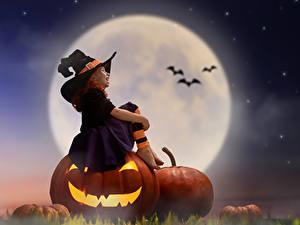Hintergrundbilder Kürbisse Halloween Kleine Mädchen Mond Nacht Der Hut Sitzt Kinder