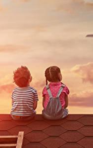 Fotos Flugzeuge Junge Kleine Mädchen Zwei Rücken Sitzend Dach Kinder
