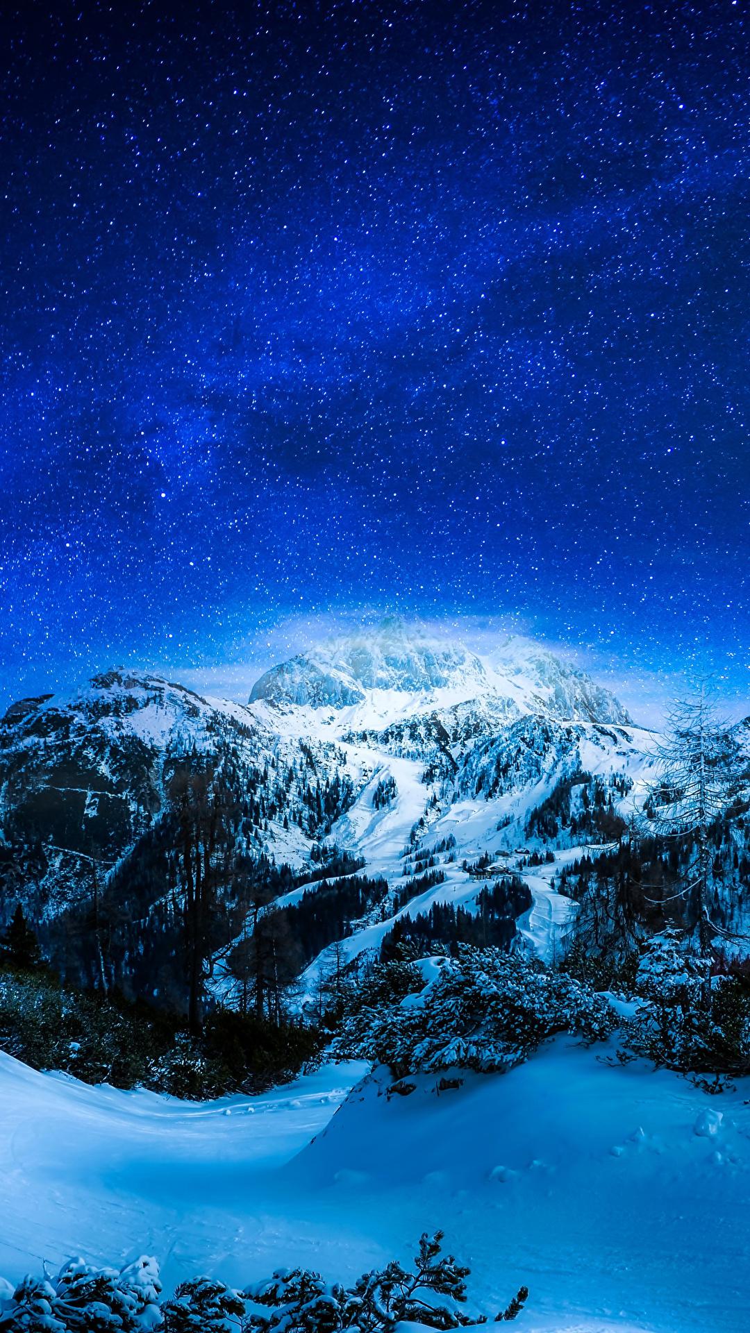 Desktop Wallpapers Stars Winter Nature Mountains Sky Snow