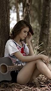 Hintergrundbilder Asiatische Sitzt Gitarre Baumstamm Hübsch Bein Mädchens