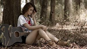 Hintergrundbilder Asiatische Sitzt Gitarre Baumstamm Hübsch Bein junge Frauen