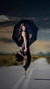 Fotos Wege Regenschirm Brünette Ballett Tanz