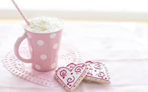 Bilder Kekse Tasse Herz Die Sahne Lebensmittel