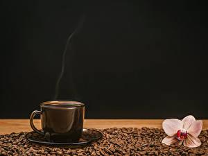 Hintergrundbilder Kaffee Orchideen Tasse Getreide Schwarzer Hintergrund Lebensmittel