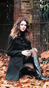 Hintergrundbilder Herbst Braunhaarige Mantel Blattwerk Bein Stiefel Mädchens