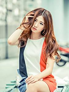 Fotos Asiatische Bokeh Braunhaarige Kleid Hand Starren Sitzend