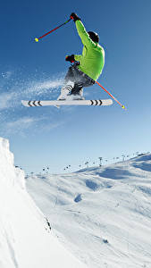 Pictures Winter Skiing Man Snow Jump Sport