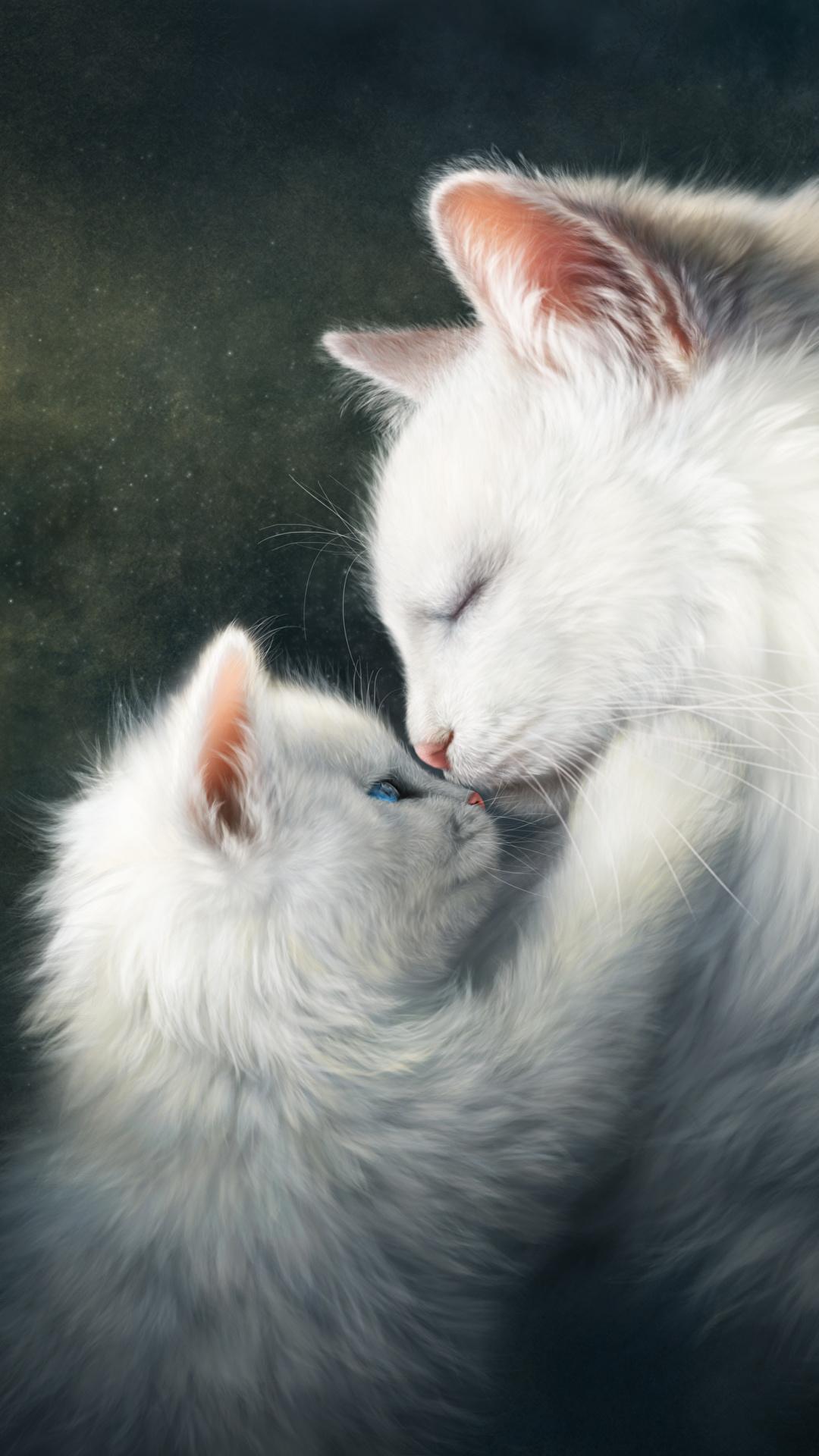 壁紙 1080x1920 飼い猫 描かれた壁紙 愛 2 二つ 子猫 白