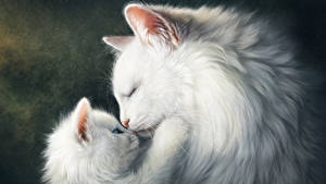 Wallpapers Cats Painting Art Love Two Kittens White Cute Animals