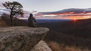 Fotos Wälder Sonnenaufgänge und Sonnenuntergänge Felsen Sitzen Hügel Natur