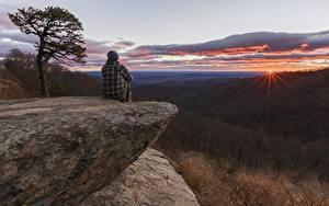 Fotos Wälder Sonnenaufgänge und Sonnenuntergänge Felsen Sitzend Hügel Natur