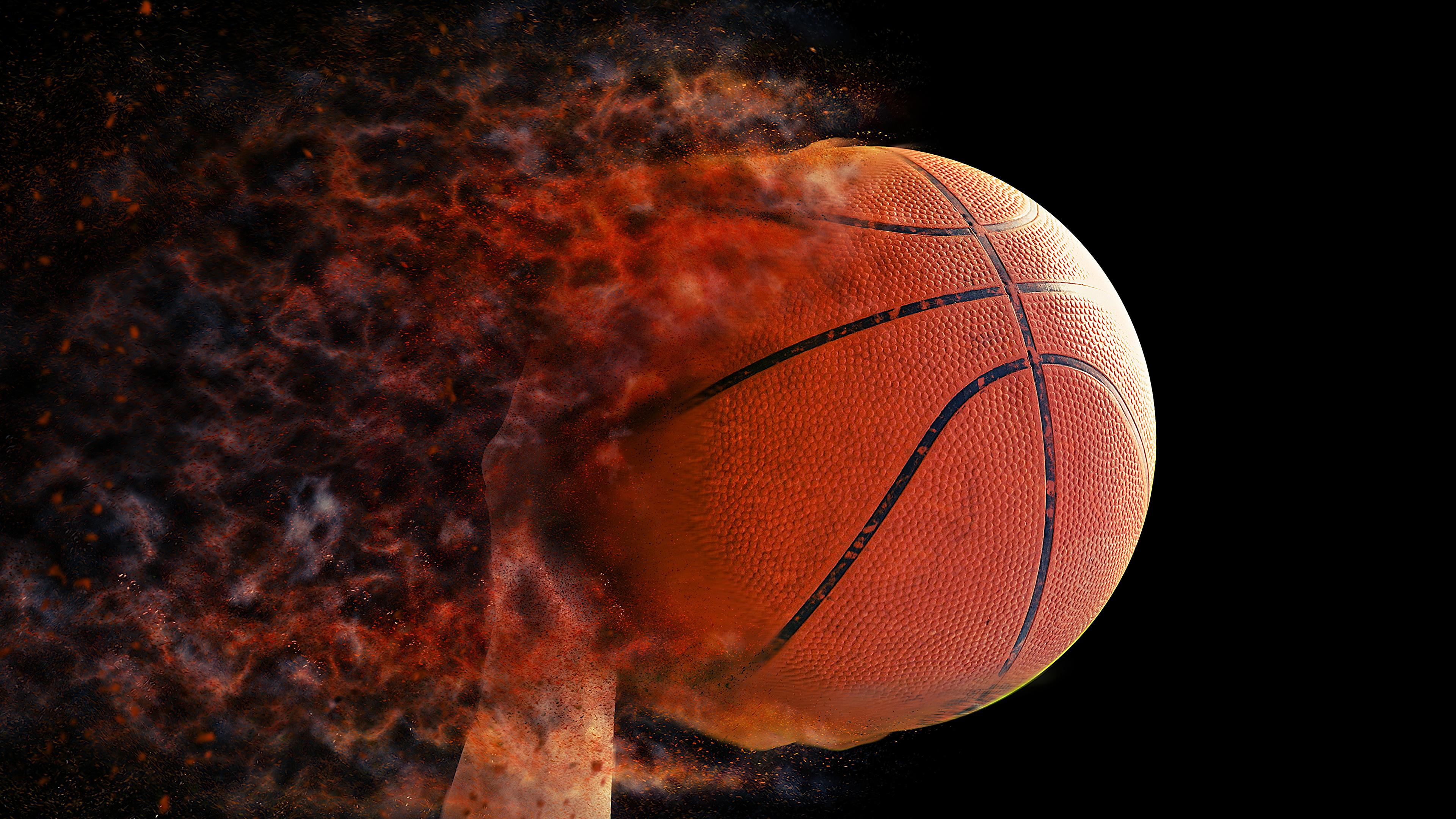 Wallpaper Sport Basketball Flame Ball Black Background 3840x2160