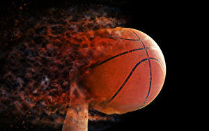 Fotos Basketball Feuer Schwarzer Hintergrund Ball Sport
