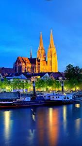 Fotos Deutschland Flusse Gebäude Nacht Bayern Regensburg Städte