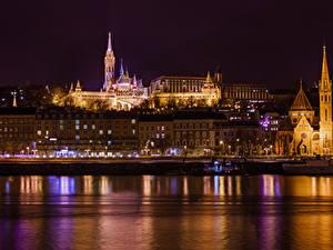 Bilder Budapest Ungarn Haus Flusse Nacht
