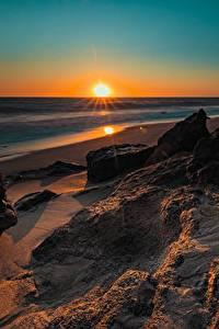 Bilder Morgendämmerung und Sonnenuntergang Küste USA Kalifornien Sonne