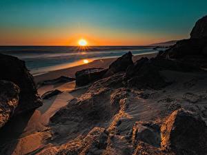 Bilder Morgendämmerung und Sonnenuntergang Küste USA Kalifornien Sonne Natur