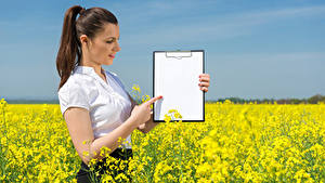 Wallpapers Fields Rapeseed Brown haired Sheet of paper Hands Girls