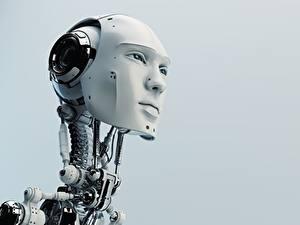 Fotos Roboter Kopf Grauer Hintergrund Gesicht Starren Natur