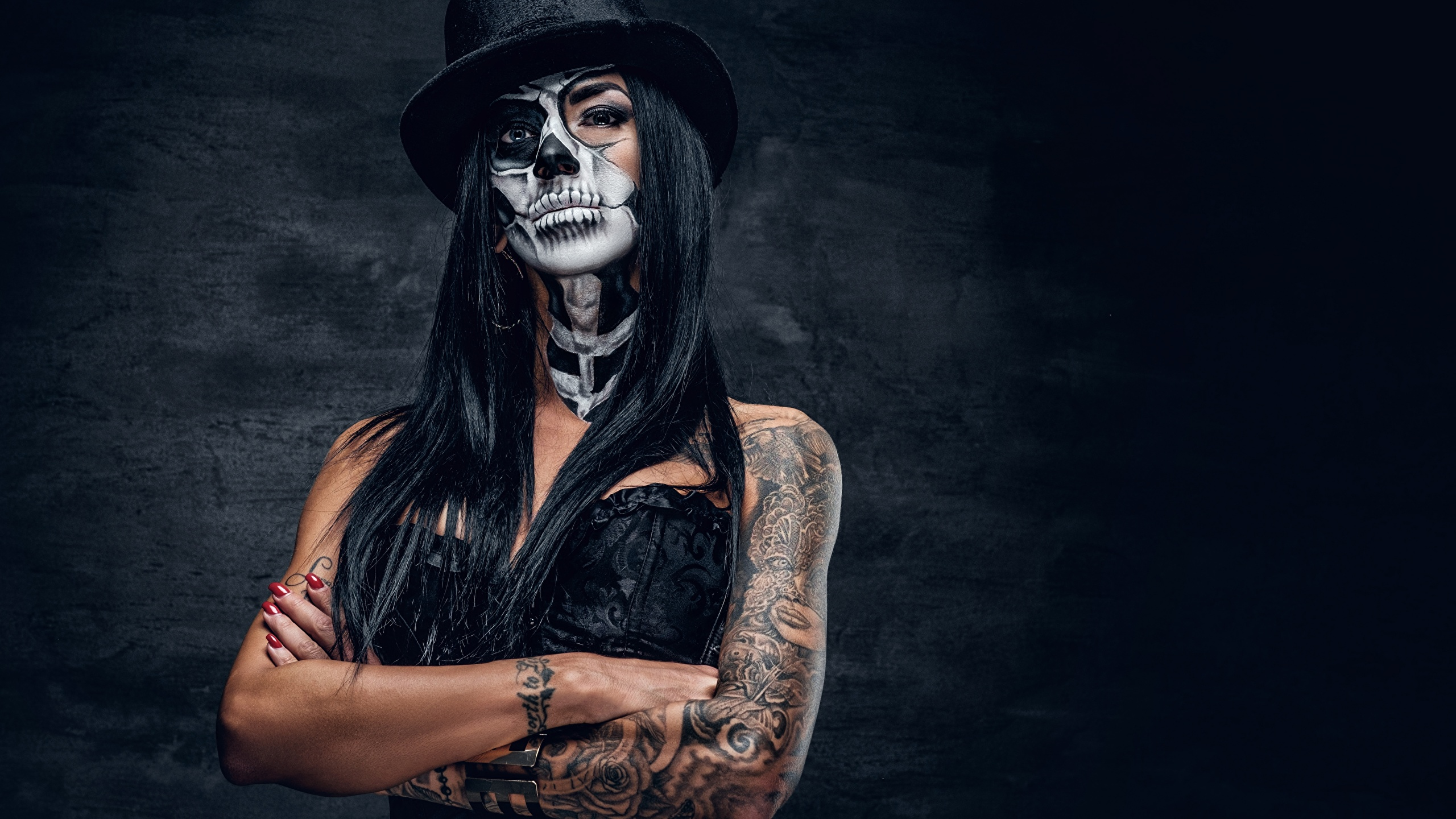 Photo Tattoos Brunette Girl Makeup Day Of The Dead Hat 2560x1440