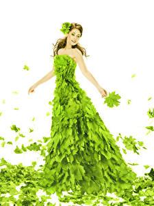 Bilder Weißer hintergrund Braunhaarige Kleid Blattwerk Gelbgrüne Ahorne