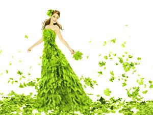 Fonds d'écran Fond blanc Aux cheveux bruns Les robes Feuillage Jaune-vert Érable Filles