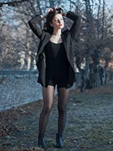 Pictures Ester Merja Brunette girl Jacket Hands Posing Legs Pantyhose Luigi Malanetto female