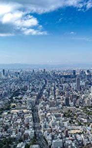 Bilder Himmel Haus Japan Megalopolis Von oben Osaka Städte