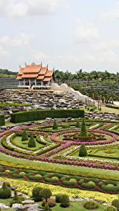 Hintergrundbilder Thailand Garten Rasen Design Strauch Nong Nooch Tropical Botanical Garden Natur