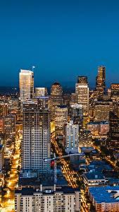 Hintergrundbilder Wolkenkratzer Haus Vereinigte Staaten Seattle Megalopolis Nacht Städte