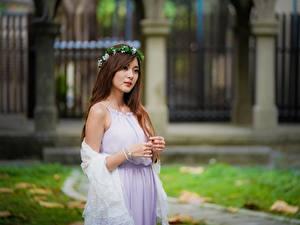 Hintergrundbilder Asiatische Bokeh Kleid Kranz Braune Haare junge frau