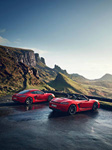 Hintergrundbilder Porsche Rot 2 Metallisch 718 Cayman s, Boxster 718 red automobil