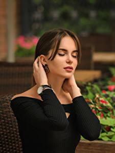 Hintergrundbilder Unscharfer Hintergrund Hand Model Braunhaarige Hanna, Dmitry Medved Mädchens