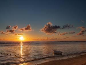 Fotos Morgendämmerung und Sonnenuntergang Meer Boot Strand Sonne Natur