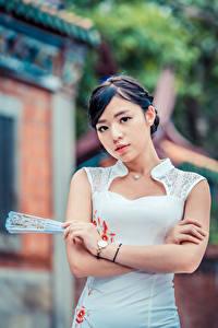 Hintergrundbilder Asiatische Kleid Fächer Hand Blick Unscharfer Hintergrund junge Frauen
